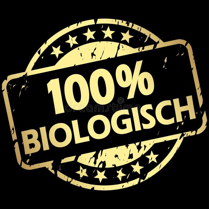 金子与横幅100%生物(的难看的东西邮票;用德语 向量例证