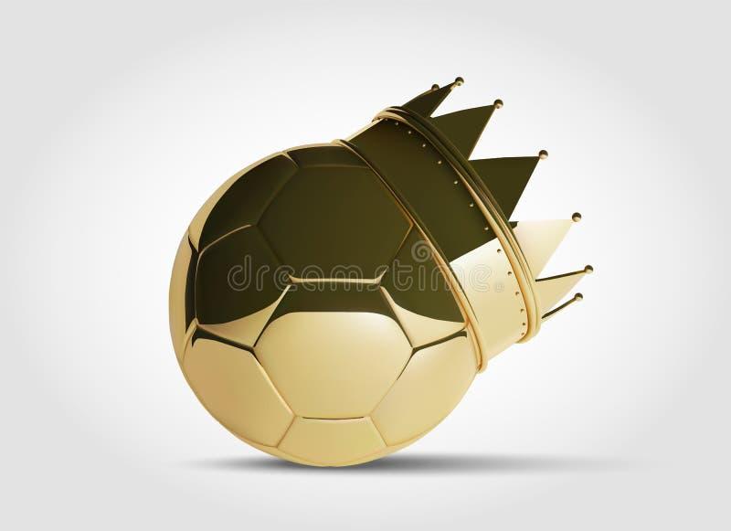金子与金黄冠的橄榄球或足球 在3D样式的照片拟真的美丽的传染媒介球 库存例证