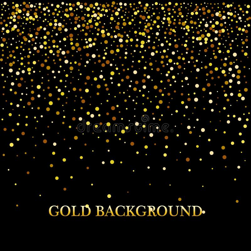 金子与闪闪发光亮光光五彩纸屑的闪烁背景 传染媒介闪烁的黑背景 库存例证