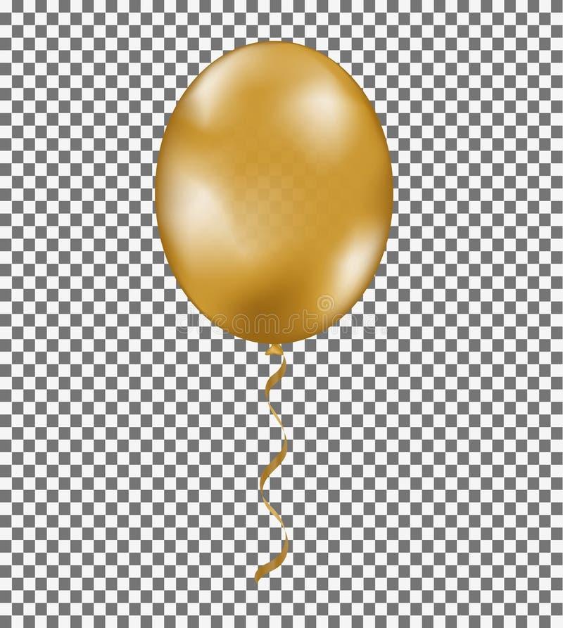 金子亮光有在透明背景隔绝的丝带的气球 您的设计的黄色传染媒介模板 时髦标志 库存例证