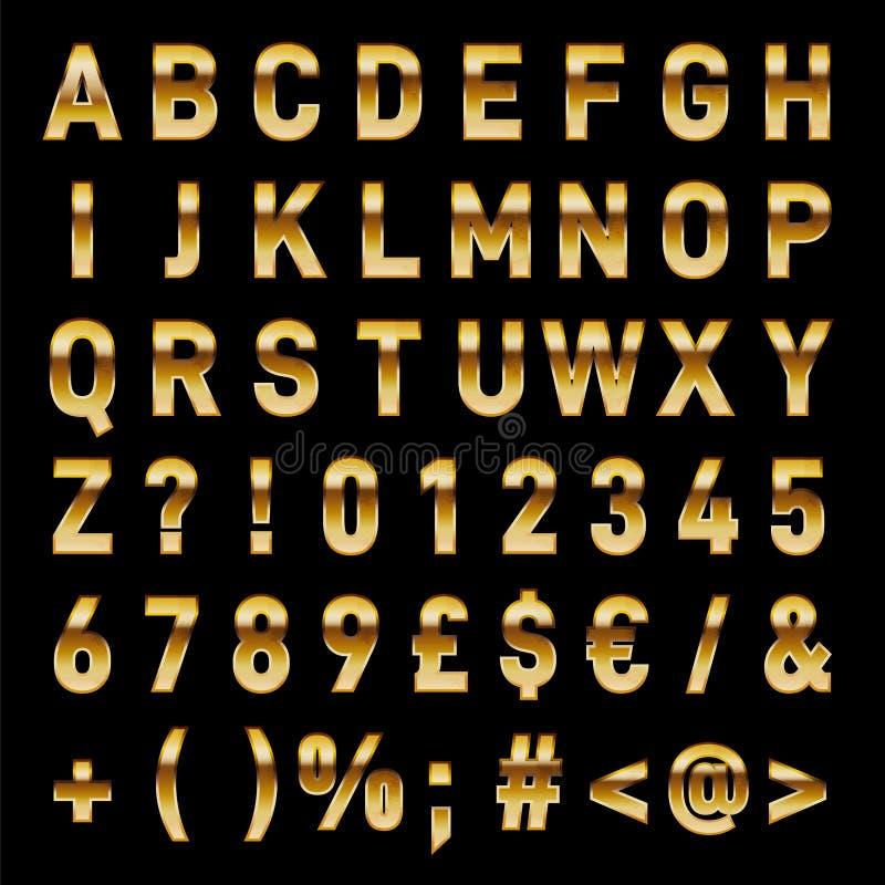 金子传染媒介字母表大胆的字体立即下载 库存照片