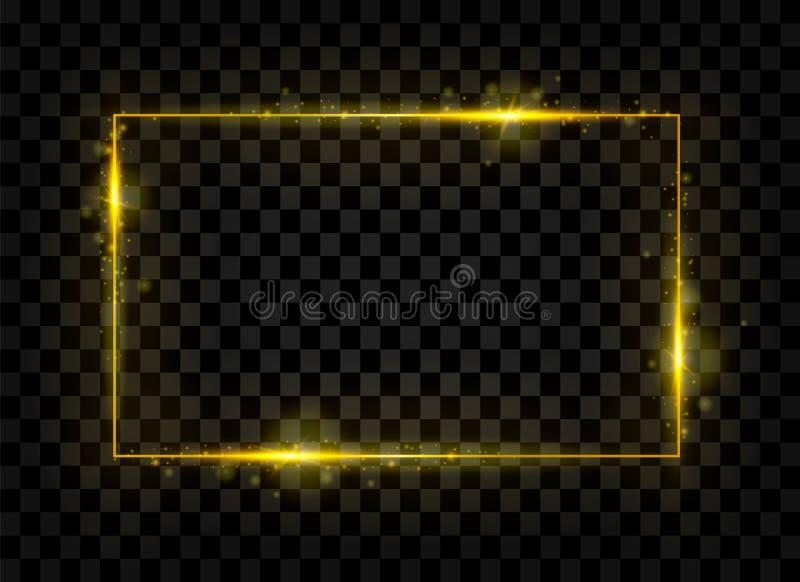 金子光亮的长方形横幅 金黄光线影响 也corel凹道例证向量 库存例证