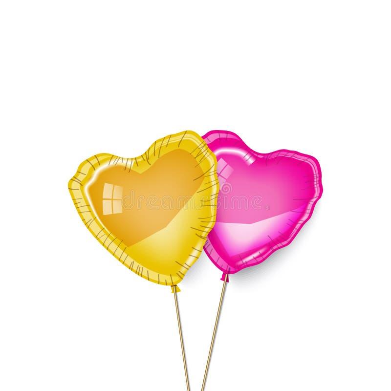 金子和桃红色心脏气球,夫妇 免版税库存图片