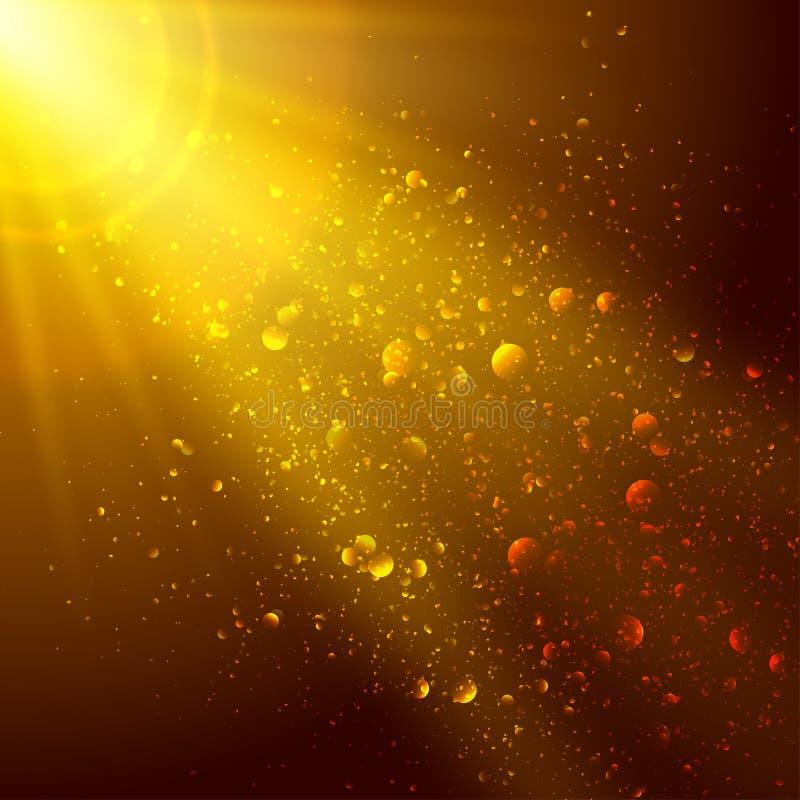 金子和棕色背景与空间文本的 库存例证