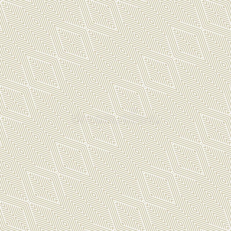 金子和白色传染媒介几何线性无缝的样式与对角条纹 库存例证