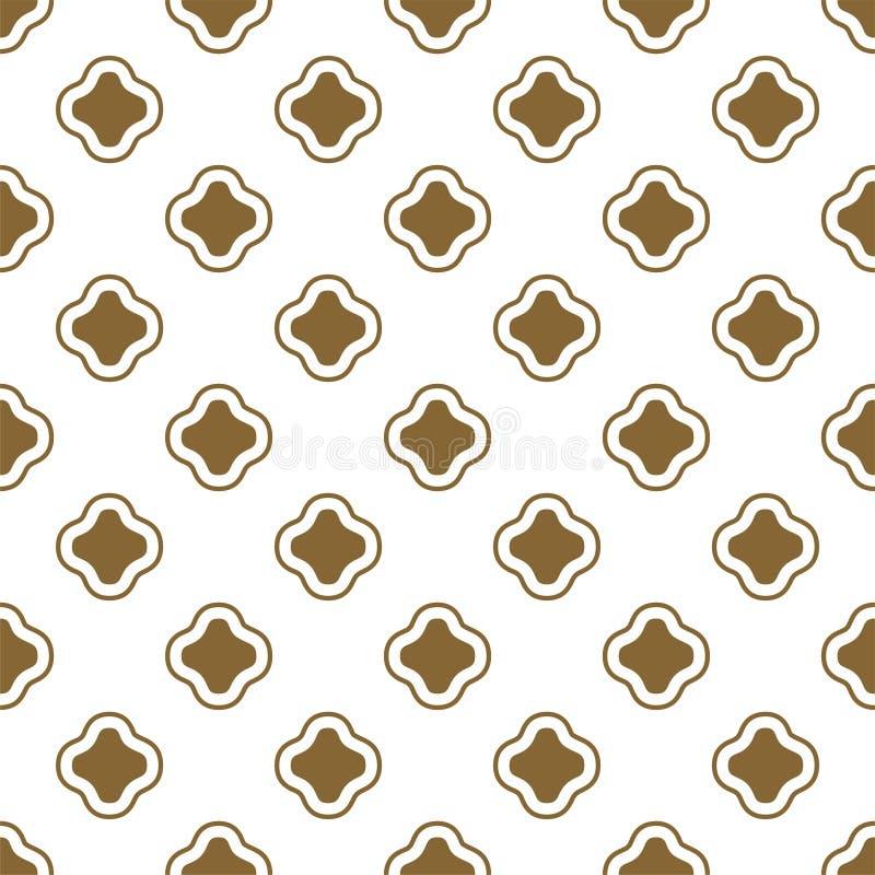 金子和白色无背长椅塑造无缝的传染媒介样式 皇族释放例证