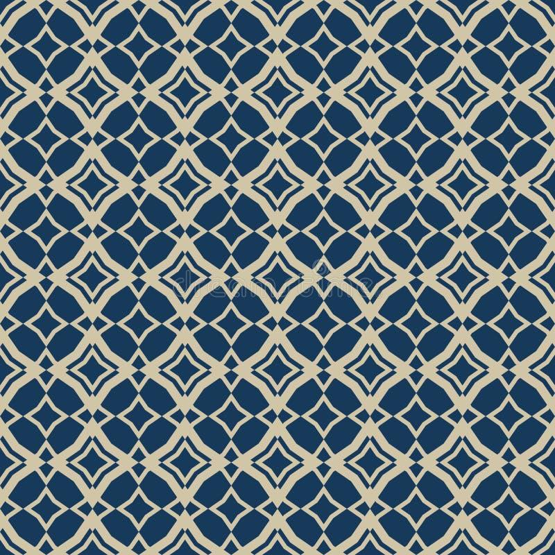 金子和蓝色摘要传染媒介几何无缝的样式在东方样式 库存例证