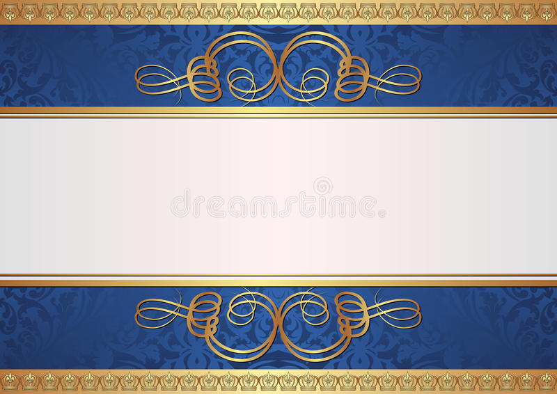 金子和蓝色背景 向量例证