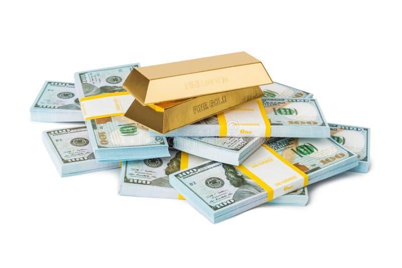 金子和金钱 免版税库存照片