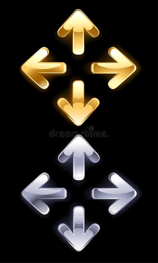 金子和银符号箭头  向量例证