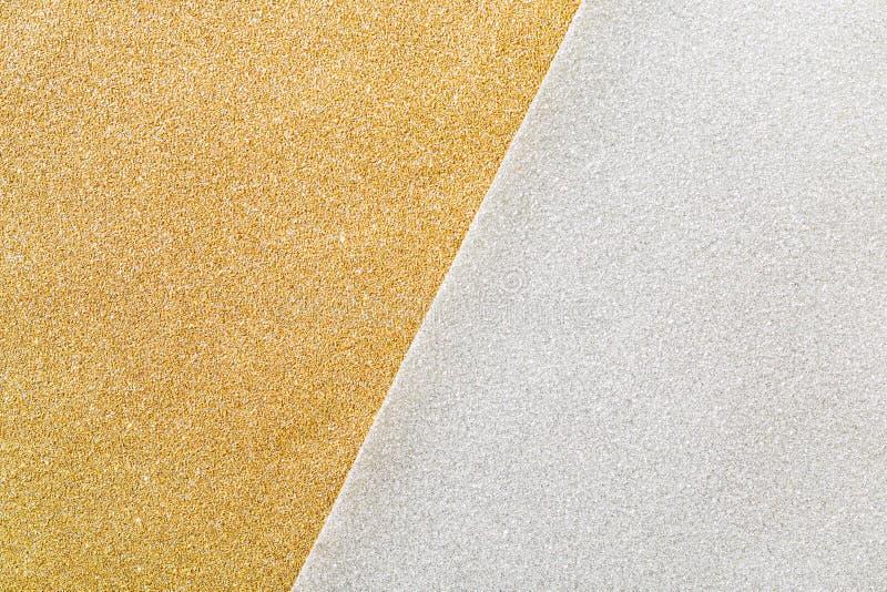 金子和银闪烁两口气背景 免版税库存图片