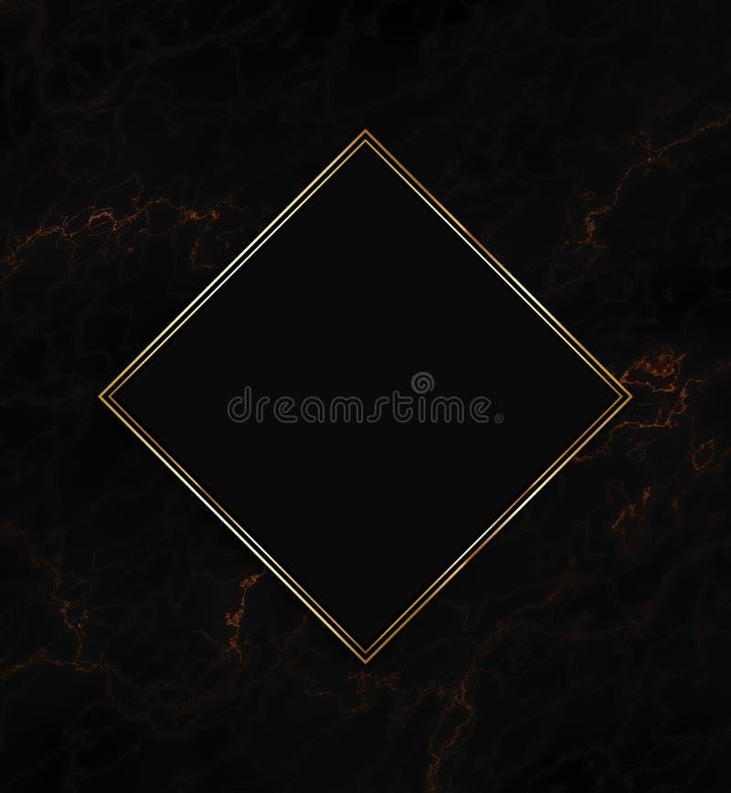 金子和黑框架在大理石纹理背景 向量例证