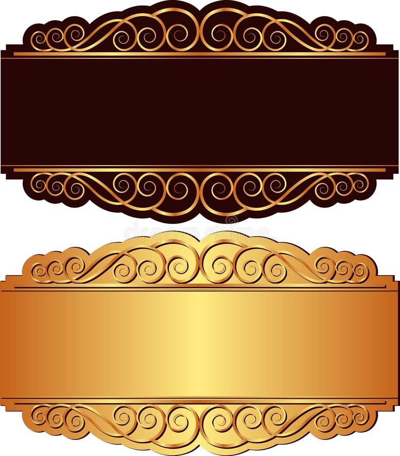 金子和黑色背景 库存例证