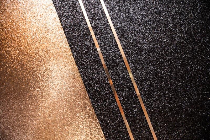 金子和黑闪烁帆布 免版税图库摄影