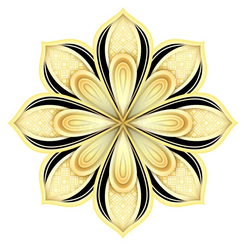 金子和黑色美丽的装饰华丽坛场 皇族释放例证