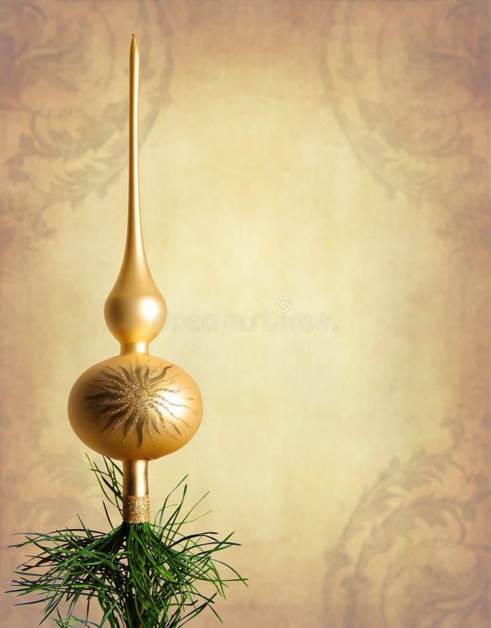 金子圣诞树顶层 库存图片