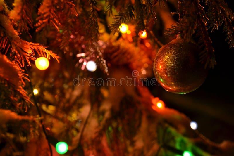 金子圣诞树,夜的魅力在圣诞节前的 免版税库存照片