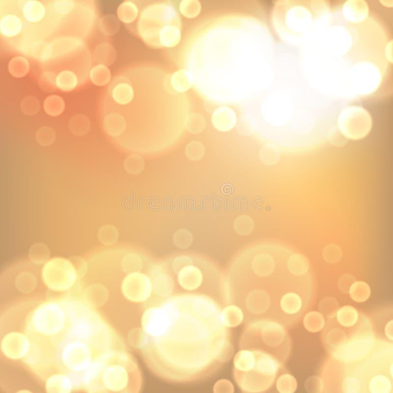 金子圣诞灯背景 库存例证