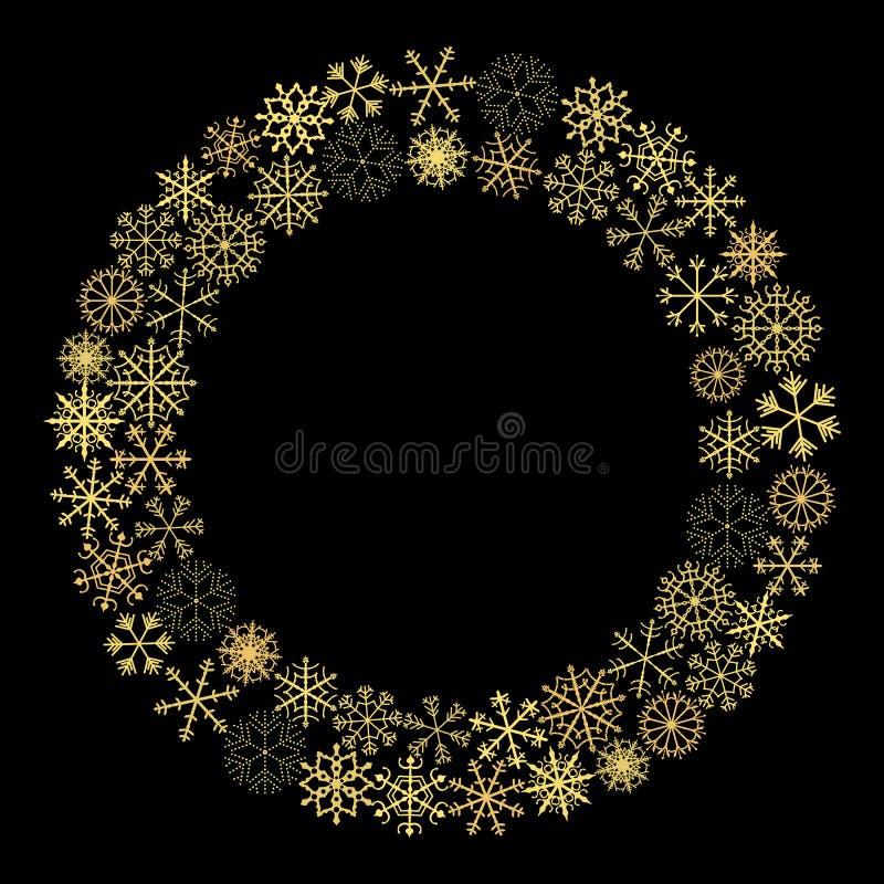 金子圣诞节传染媒介缠绕与假日贺卡的雪花 向量例证
