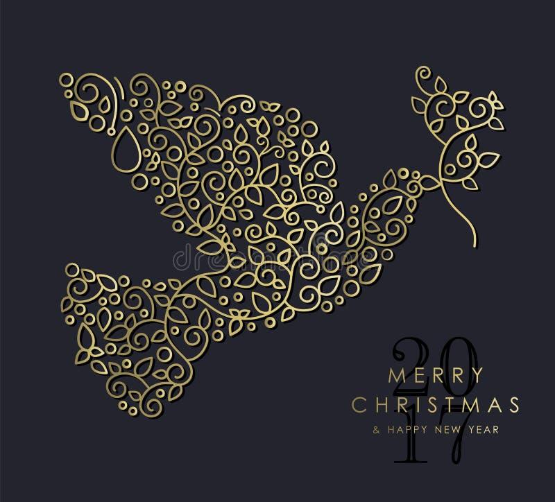 金子圣诞节和新年装饰物鸠鸟 皇族释放例证