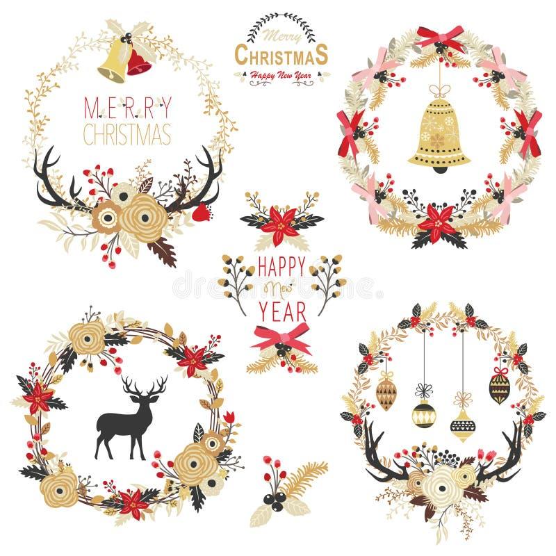 金子圣诞节花圈元素 皇族释放例证