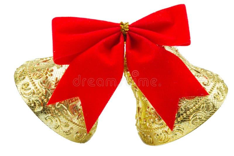 金子圣诞节铃声 免版税图库摄影