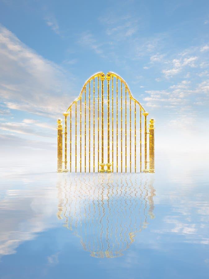 金子在天空/3D例证的天堂门 皇族释放例证