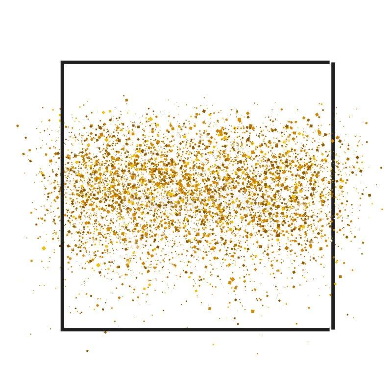 金子在框架的白色背景闪耀 金子闪烁背景 vip和喜帖的金黄背景 皇族释放例证