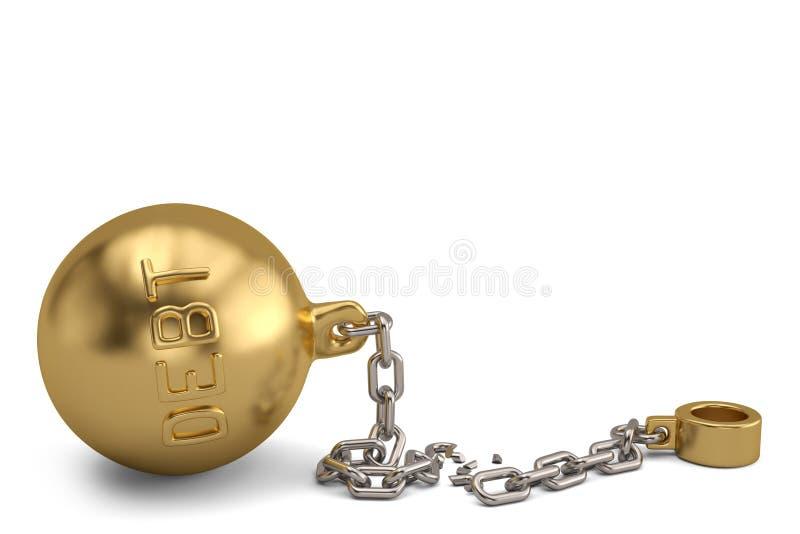 金子在白色背景的债务手铐 3d例证 向量例证