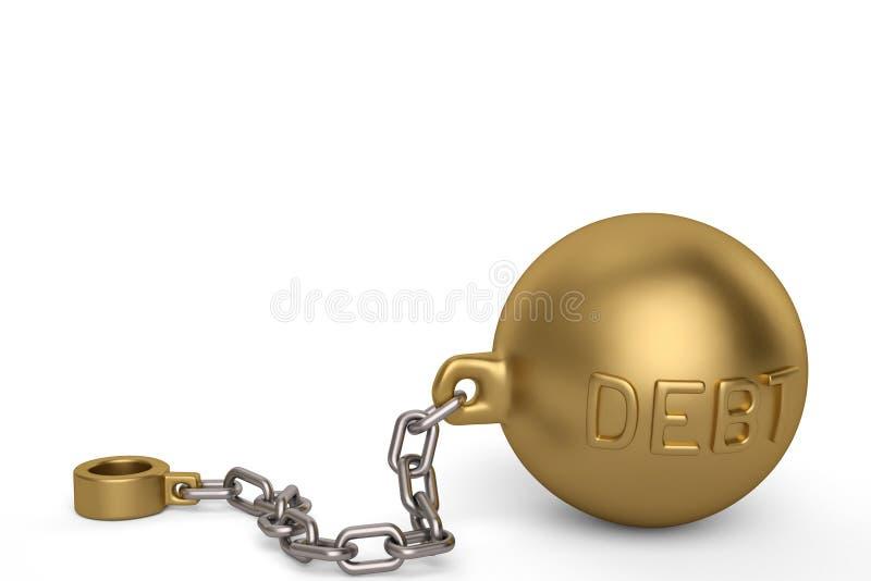 金子在白色背景的债务手铐 3d例证 库存例证