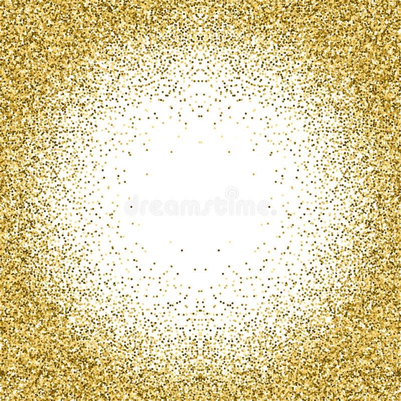 金子在白色背景隔绝的闪烁纹理 库存例证