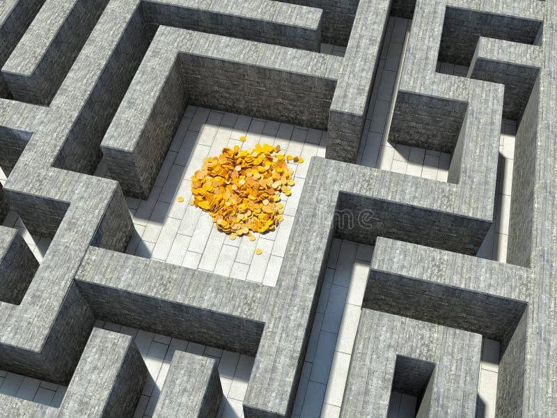 金子在石迷宫的中心 库存例证