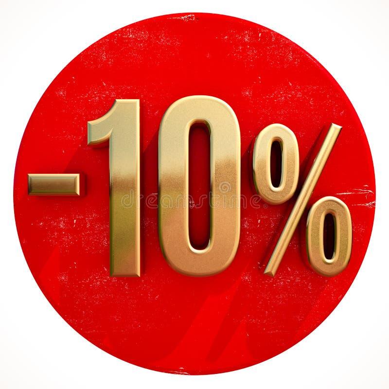金子在红色的10百分号 库存例证