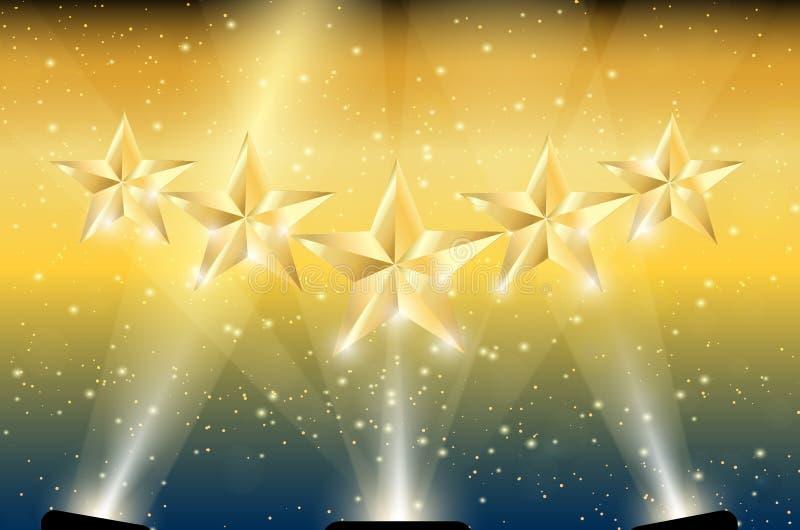 金子在聚光灯的5个星 皇族释放例证