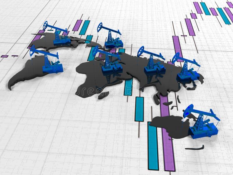 金子在背景的Pumpjack油在电路大陆引述了证券交易所, 3d回报 库存例证