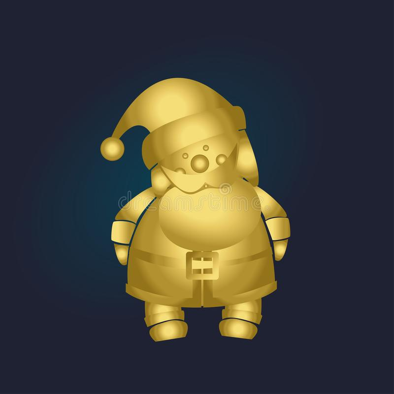 金子在蓝色背景的3D圣诞老人 圣诞节愉快的快活的新年度 库存图片