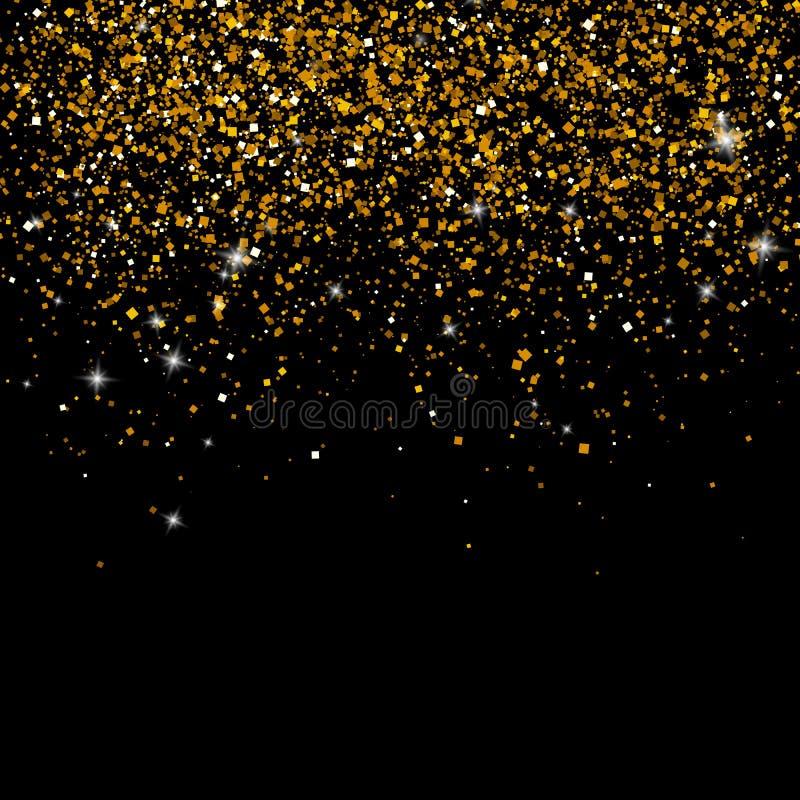金子在黑背景闪耀 豪华金黄发光的抽象纹理 皇族释放例证