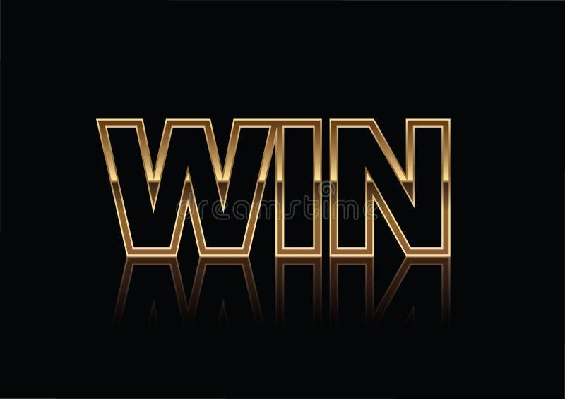 金子在黑背景隔绝的胜利横幅 理想为在竞争横幅和传单的使用 向量例证