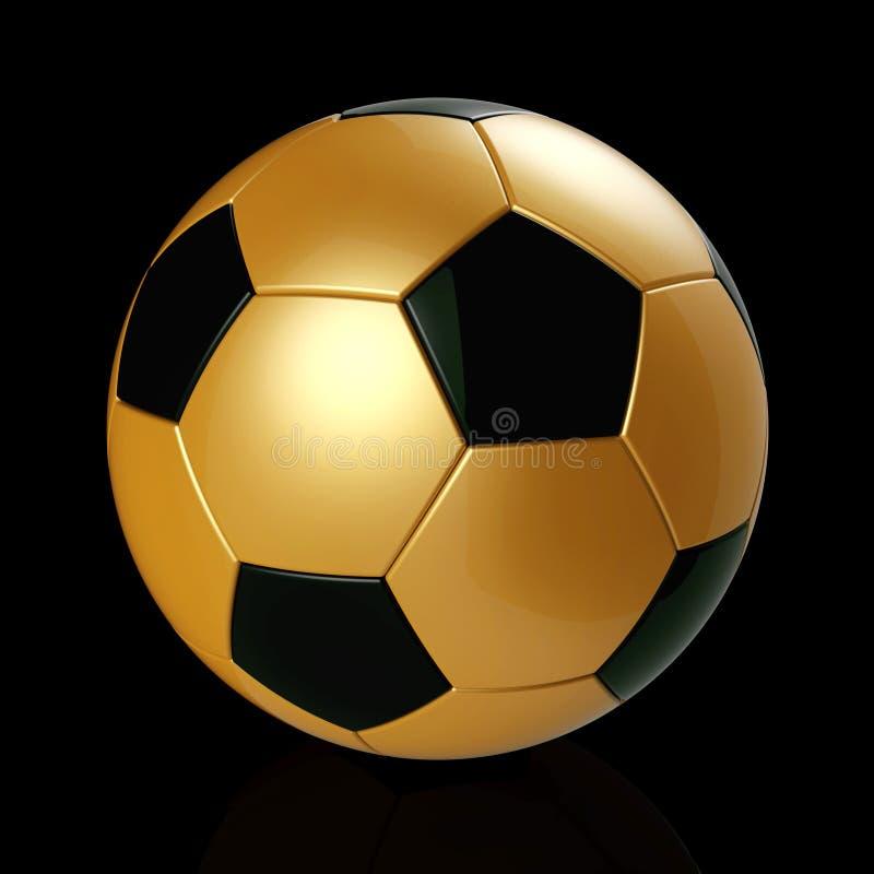 金子在黑背景的足球 库存例证