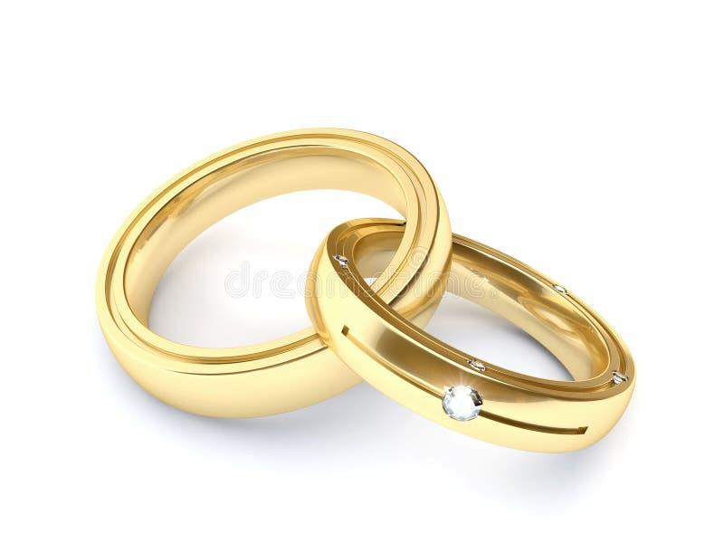 金子婚戒 向量例证