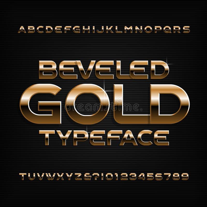 金子字母表字体 金黄二面对切的光滑的信件、数字和标志 库存例证