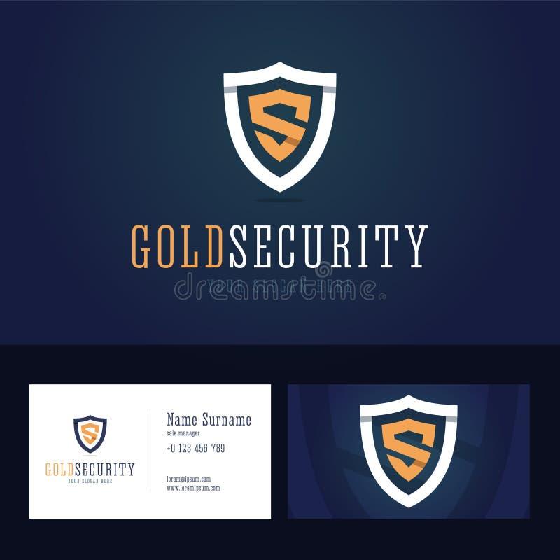 金子安全商标和名片模板 向量例证