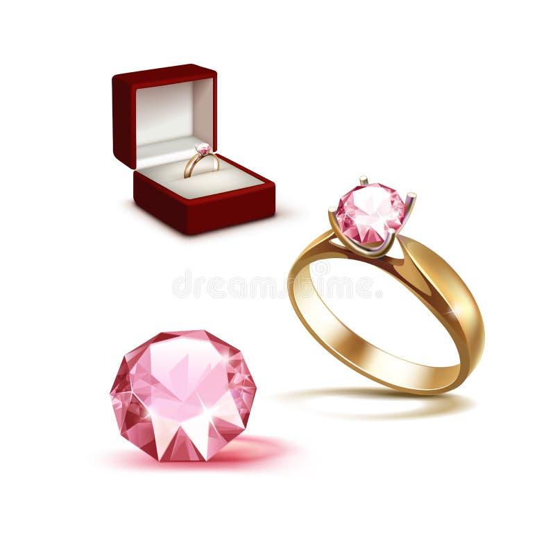 金子定婚戒指在红色首饰盒的桃红色金刚石 皇族释放例证