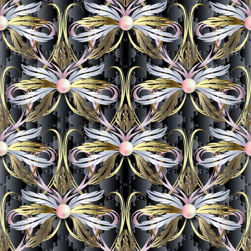 金子巴洛克式的织地不很细3d传染媒介无缝的样式 葡萄酒古色古香的样式花卉锦缎装饰品 华丽首饰成珠状背景 皇族释放例证
