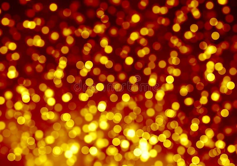 金子弄脏了bokeh背景,明亮,光,闪烁,夜,黄色,桔子,圈子,斑点,假日 皇族释放例证