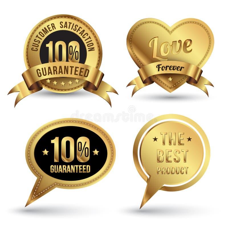 金子徽章被设置的促进保证 向量例证