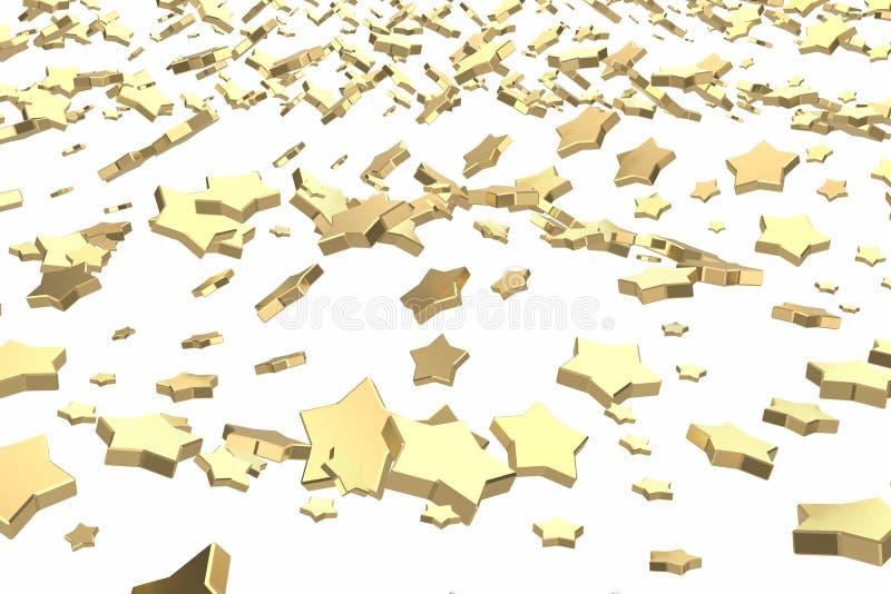 金子或白金担任主角飞行在白色背景 塑造3d例证 财富富有的采矿bitcoin概念 向量例证