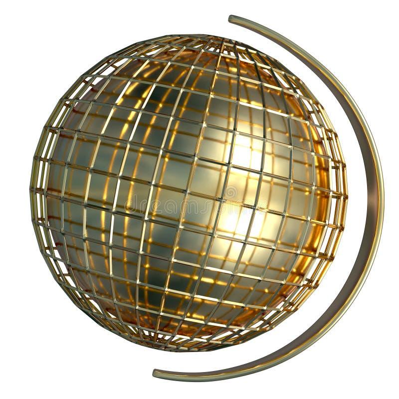 金子排行了与一个持有人的地球在边 查出的3d回报 皇族释放例证