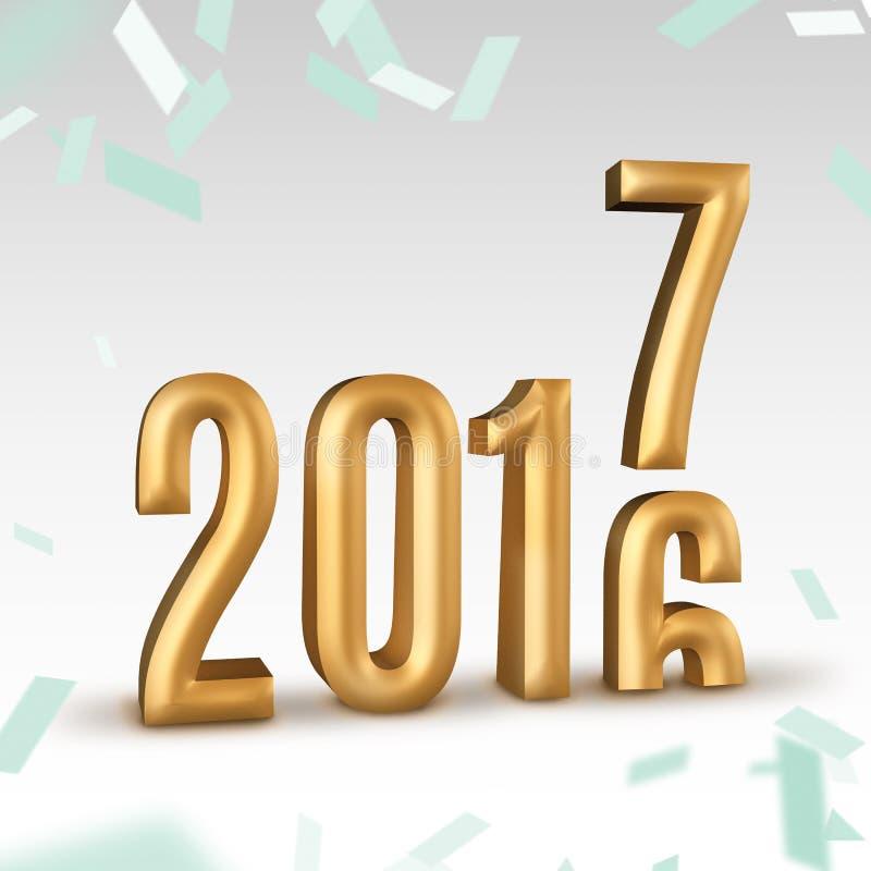 2016年金子数字年变化对2017个新年在白色演播室ro上 皇族释放例证