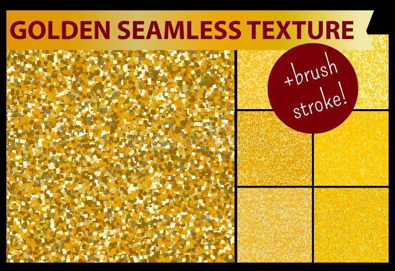 金子无缝的闪烁纹理为装饰设计设置,仿造 包括刷子冲程 向量例证